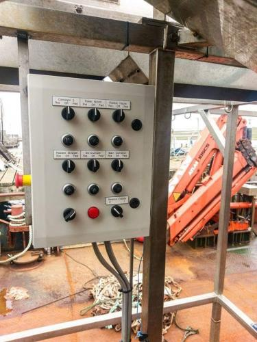 Deck control panel for hydraulic equipment