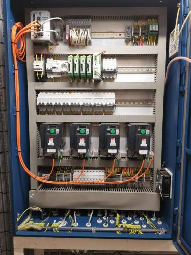Inside main feedsystems panel with terminations complete