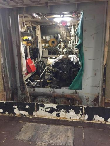 Bulkhead cut, looking to the engine room from the fish hold